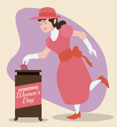 Woman Voting and Commemorating Women's Day in Retro Design